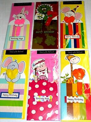 JUST 39p, NOVELTY BALLOON CARDS X 24, 6 DESIGNS, WRAPPED, GREAT FOR KIDS.