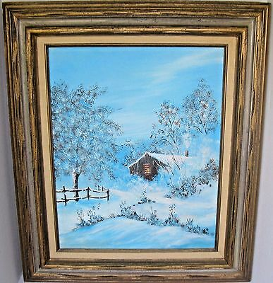 VTG 70s Original WINSTON ALLEN Acrylic Painting on Canvas, Winter Log Cabin Snow