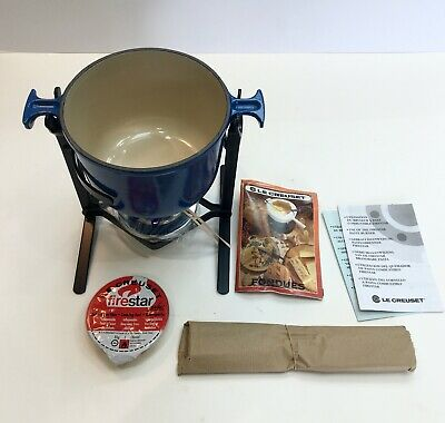 Le Creuset Fondue Set: Navy Blue With Six Forks - New