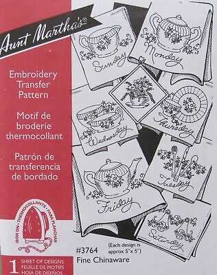 Aunt Marthas 3764 Fine Chinaware Floral Dishes DOW Embroidery Transfer Pattern