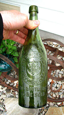 nice! GREEN quart FREDERICKSBURG BOTTLING CO beer bottle SAN FRANCISCO CAL empty
