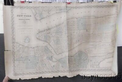 Map of New York and the Adjacent Cities-J.H. Colton, 1855