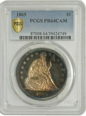 1865 Seated Liberty Dollar $ PR64 Cameo PCGS Secure 942813-18