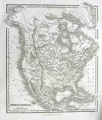 1846 ENGRAVED MAP OF NORTH AMERICA CANADA MEXICO ~  Antique Print Line Engraving