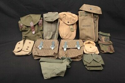 12x East German & Other Military Web Field Gear Canvas Magazine Ammo Pouches