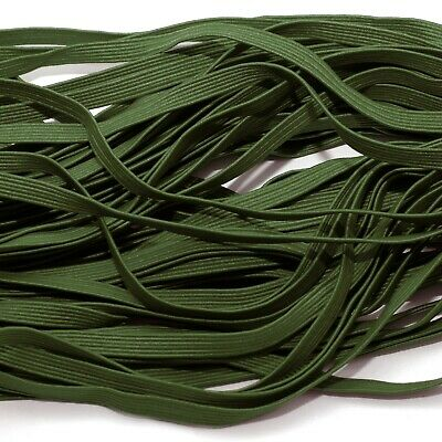 FLAT ELASTIC ONE METRE OF SOFT 6 MM WIDE KHAKI GREEN COLOUR STRETCHY