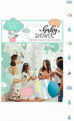 Baby Shower Shimmer Droplet String Decorations for Beautiful baby shower, 6 Pack