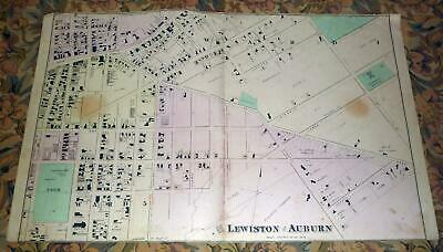 City of Lewiston, Maine - Original Antique 1873 Map 26.5 x 16.25