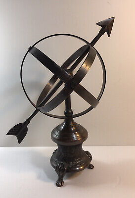 Metal Globe Sphere On Base Unbranded Dark Bronze Color