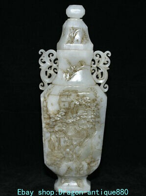 "12.6"" Old China Hetian Jade Carving Dynasty Palace Landscape Pine People Bottle"
