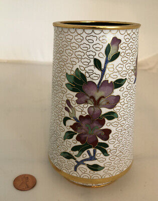 Vintage Cloisonne Enamel and Bronze White Brush Pot Pencil Vase