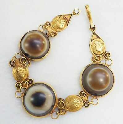 Ancient ROMAN Heritage Ancient SEEING Goat Eye Agate Solid Gold 18K Bracelet