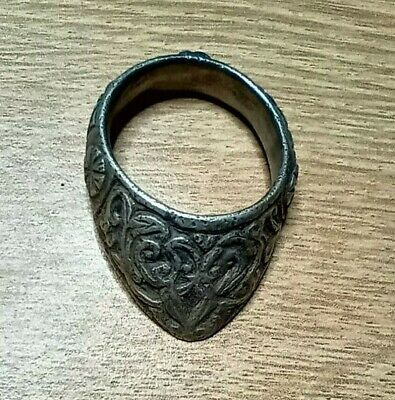 Very Fine Ancient Medieval Silver Archer's Ring 1000-1200 Ad