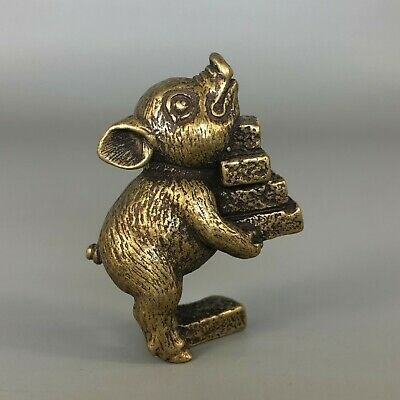Chinese Brass Handwork Pig Move Golden Bricks Collectible Old Ornament Statue
