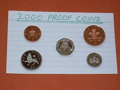 2000 PROOF COINS - (5 coins - 20p, 10p, 5p, 2p & 1p) FROM ROYAL MINT PROOF SET