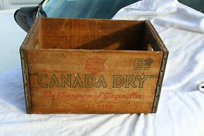 Canada Dry Crate wooden Vintage advertising soda bottle shipping box Metal Wood