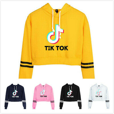 Women Girls Tik Tok Cropped Hoodie Sweatshirt Long Sleeve Jumper Coat Hoody Top