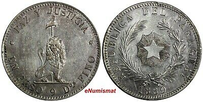 Paraguay Silver 1889 1 Peso  aUNC Light Toned Buenos Aires Mint  37.5 mm KM# 5