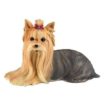 "Yorkie Yorkshire Terrier Dog Figurine 8"" Long Resin New In Box!"