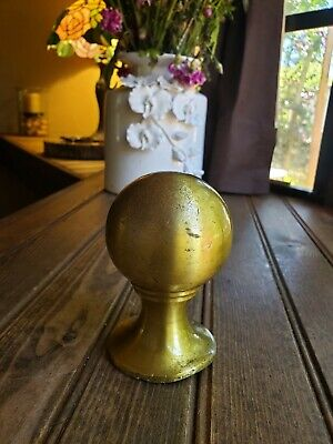 VINTAGE Rare Solod Ball BRASS Round FINIAL TOPPER Flag Pole_ONLY ONE HERE!! 4.5""