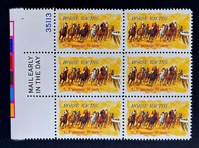 US Stamps, Scott #1528 10c 1974 'Horse Racing' Block of 6 with selvage XF M/NH