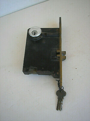 Antique Corbin Cast & Brass Door Lock Mortise Assemby with Keys