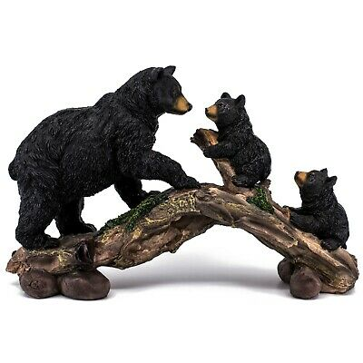 """Black Bear and Cubs On Log Figurine Statue 11.25"""" Long Resin New In Box!"""