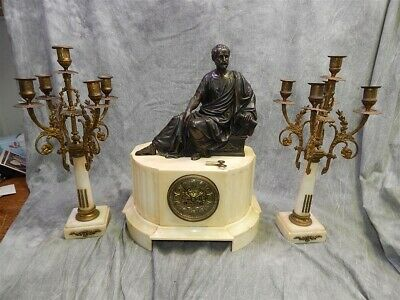Antique French Marble & Bronze Clock Set - Massive