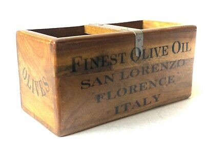 Finest Olive Oil San Lorenzo Italian Style  Wooden Storage Box Crate