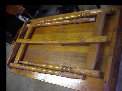 Antique Vintage Sewing Table Wood Folding Stand Incised Measurement Seamstress