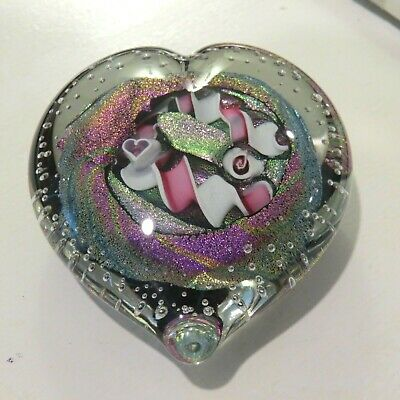 Stunning Randy Strong Dichroic Heart Glass Paperweight Signed c.1999  2 3/4""