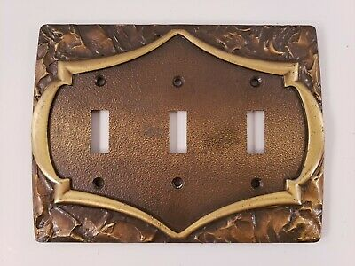 Vintage brass triple toggle Light switch cover Plate
