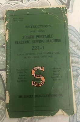 Pre WW2 Singer Sewing Machine Manual - Featherweight 221-1