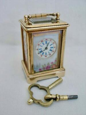 Superb 8 Day Sub Miniature Carriage Clock With Porcelain Panels.