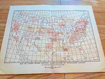 1904 Map United States Showing Progress of Topographical Surveying & Stations