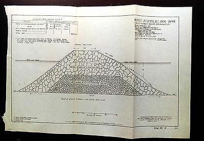 1904 Sketch Diagram Oswego NY W Pier Timber Crib US Corps of Engineers P.S. Bond