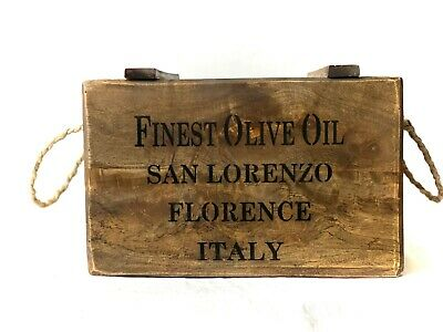 Vintage Antiqued Wooden Box Crate Finest Olive Oil Chest Storage