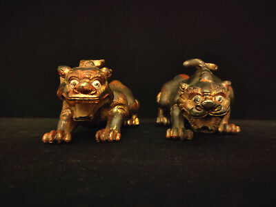 A Rare Pair of Chinese Antique Qing Gilt Lacquered Bronze Mythical Beasts