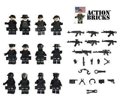 Compatible Lego Police City Police Army Minifigures with Military Weapons 12 Min