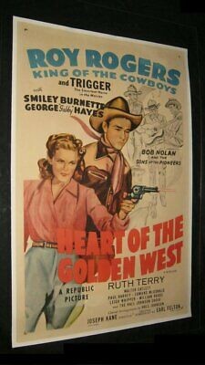Original HEART OF THE GOLDEN WEST Linen Backed O/S ROY ROGERS Burnette HAYES