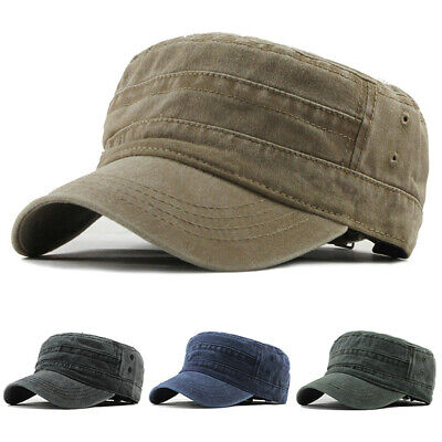 Solid-Cotton Military Hat Cap Army Cadet Men Women Casual  Size Adjustable Strap