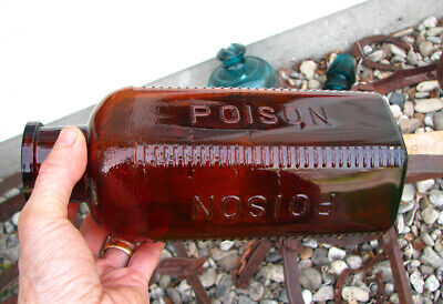"""LARGEST! old ELI LILLY amber POISON // POISON bottle embossed 10 3/8"""" WIDE MOUTH"""