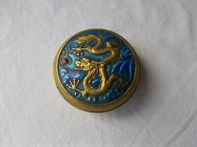 Chinese Dragon Blue Enameled Round Brass Trinket Box With Lid