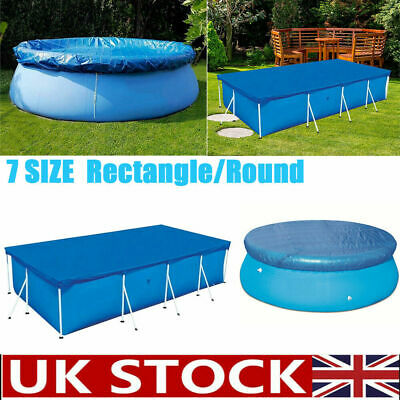 UK Rectangle/Round Swimming Pool Cover Protection Case Garden Outdoor Paddling