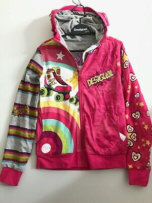 NEW! DESIGUAL Kids Girls Hoodie age 7/8 yrs. GET YOUR SKATES ON!!