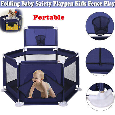 Foldable Panel Safety Play Center Baby Playpen Pool Kids Fence Yard Home Indoor