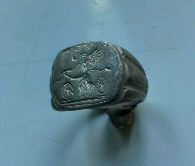 Highly Decorated Ancient Roman Silver Legionary Ring Circa 100-200 Ad