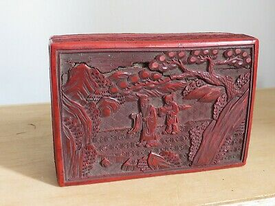 antique Chinese red lacquer cinnabar YAMANAKA & Co box  6x4 inches