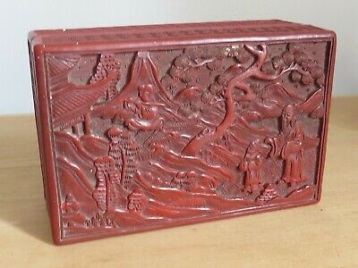 antique Chinese red lacquer cinnabar  box  6x4 inches