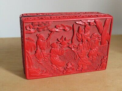 vintage  Chinese red lacquer cinnabar  box  5x3.5 inches